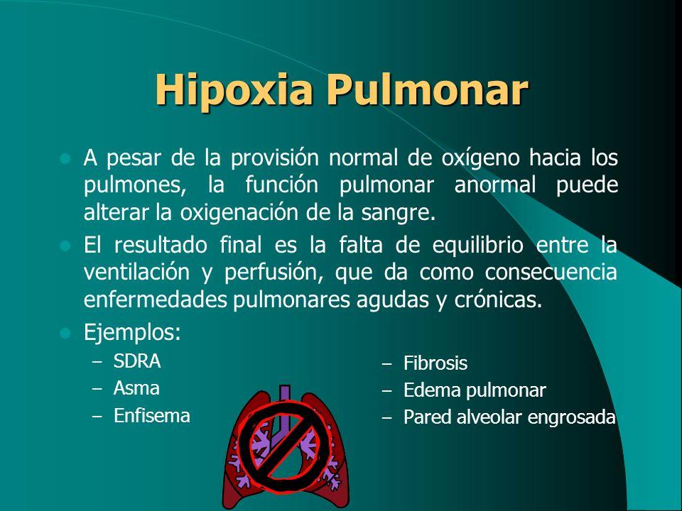 Hipoxia Postpulmonar A pesar de la PaO 2 normal, la provisión de oxígeno a los tejidos es inadecuada por: – Bajo gasto cardiaco (choque) o una oclusión vascular (sepsis).