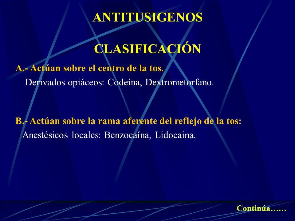 ANTITUSIGENOS CLASIFICACIÓN A.- Actúan sobre el centro de la tos. Derivados opiáceos: Codeína, Dextrometorfano. B.- Actúan sobre la rama aferente del