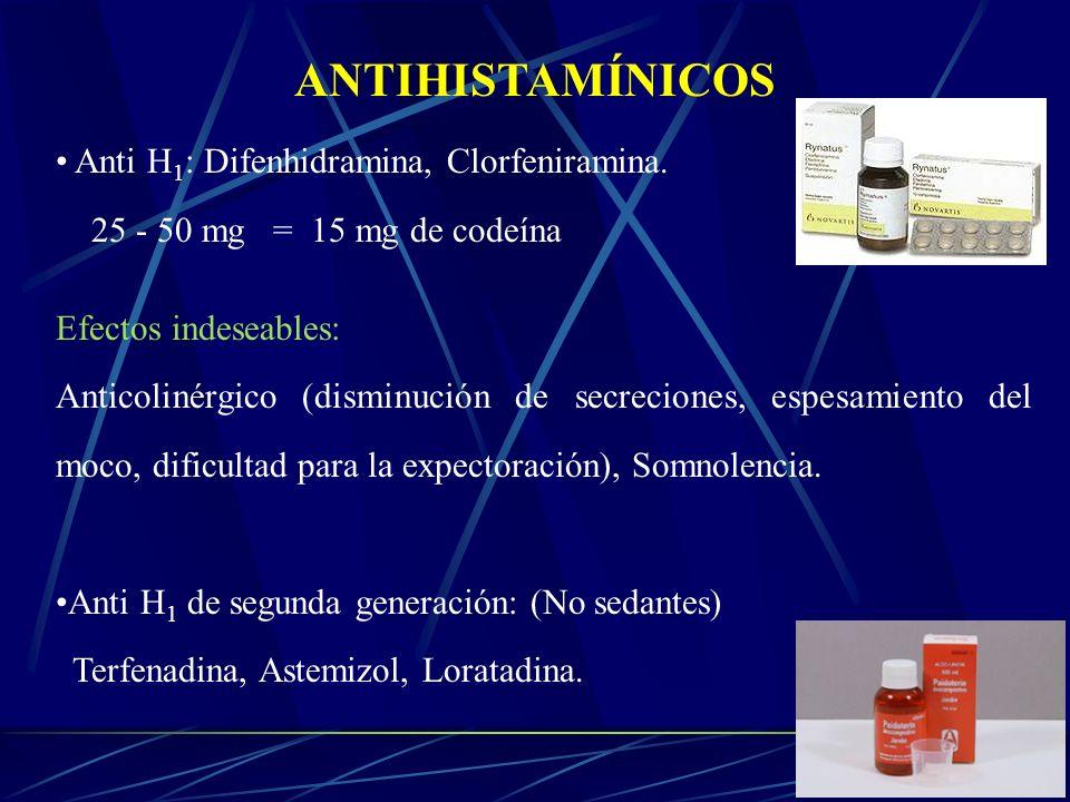 ANTIHISTAMÍNICOS Anti H 1 : Difenhidramina, Clorfeniramina. 25 - 50 mg = 15 mg de codeína Efectos indeseables: Anticolinérgico (disminución de secreci