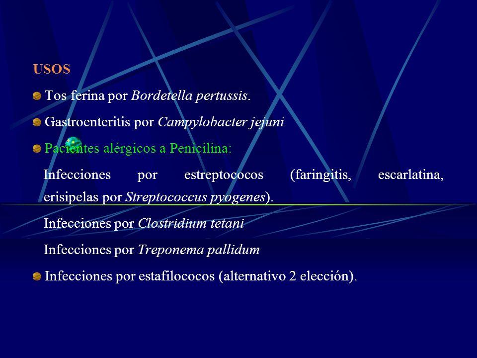 USOS Tos ferina por Bordetella pertussis. Gastroenteritis por Campylobacter jejuni Pacientes alérgicos a Penicilina: Infecciones por estreptococos (fa