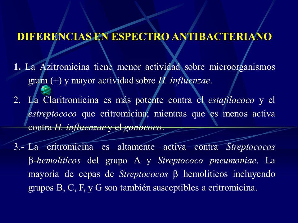 DIFERENCIAS EN ESPECTRO ANTIBACTERIANO 1. La Azitromicina tiene menor actividad sobre microorganismos gram (+) y mayor actividad sobre H. influenzae.