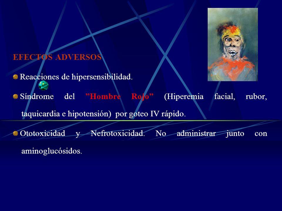 EFECTOS ADVERSOS Reacciones de hipersensibilidad. Síndrome del Hombre Rojo (Hiperemia facial, rubor, taquicardia e hipotensión) por goteo IV rápido. O