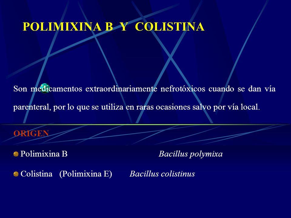 POLIMIXINA B Y COLISTINA Son medicamentos extraordinariamente nefrotóxicos cuando se dan vía parenteral, por lo que se utiliza en raras ocasiones salv