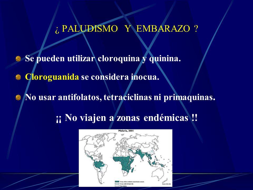 ¿ PALUDISMO Y EMBARAZO ? Se pueden utilizar cloroquina y quinina. Cloroguanida se considera inocua. No usar antifolatos, tetraciclinas ni primaquinas.
