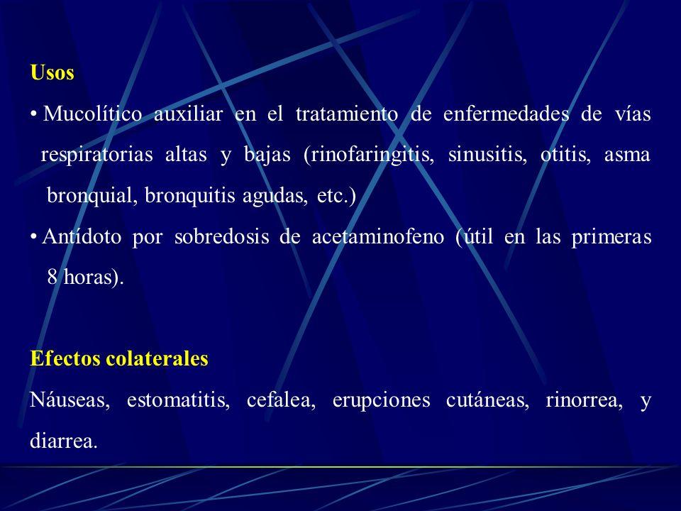 Usos Mucolítico auxiliar en el tratamiento de enfermedades de vías respiratorias altas y bajas (rinofaringitis, sinusitis, otitis, asma bronquial, bro