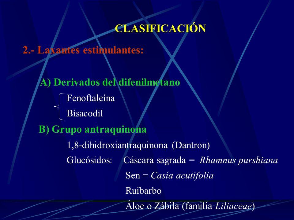 CLASIFICACIÓN 2.- Laxantes estimulantes: A) Derivados del difenilmetano Fenoftaleína Bisacodil B) Grupo antraquinona 1,8-dihidroxiantraquinona (Dantro