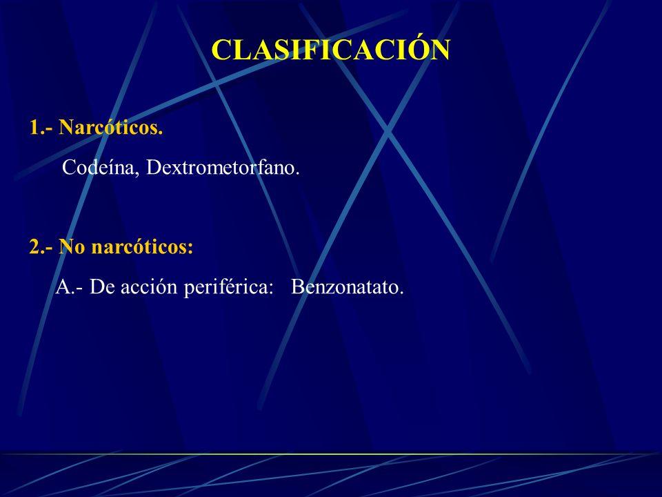 CLASIFICACIÓN 1.- Narcóticos. Codeína, Dextrometorfano. 2.- No narcóticos: A.- De acción periférica: Benzonatato.