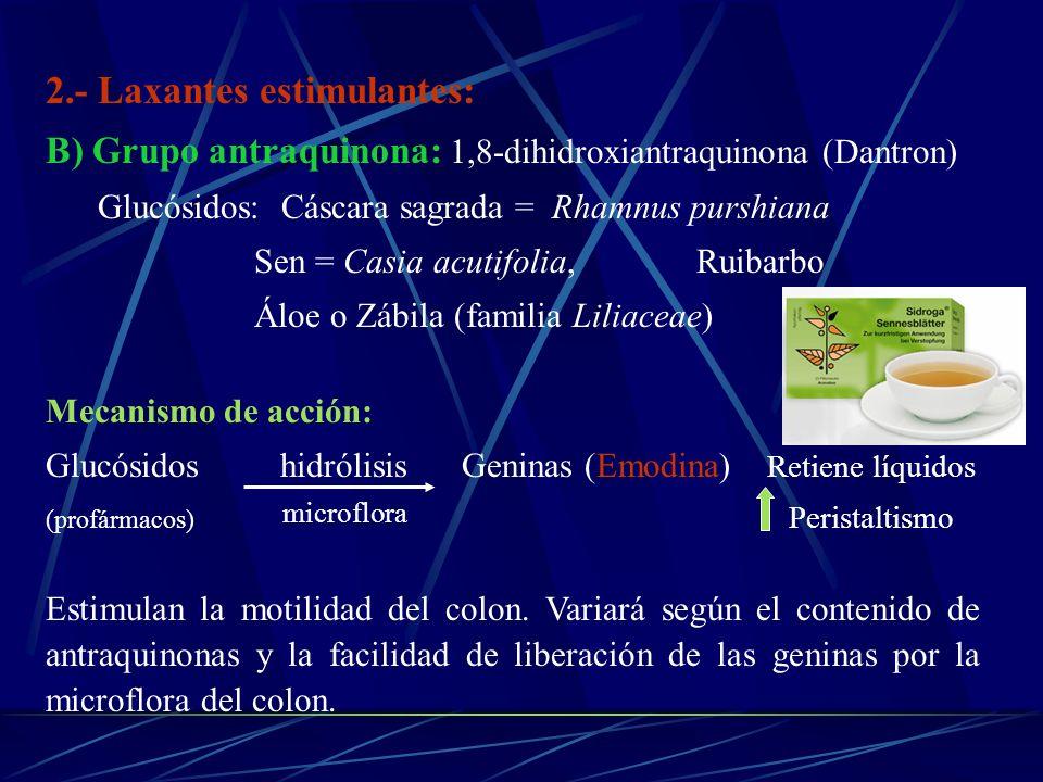 2.- Laxantes estimulantes: B) Grupo antraquinona: 1,8-dihidroxiantraquinona (Dantron) Glucósidos: Cáscara sagrada = Rhamnus purshiana Sen = Casia acut