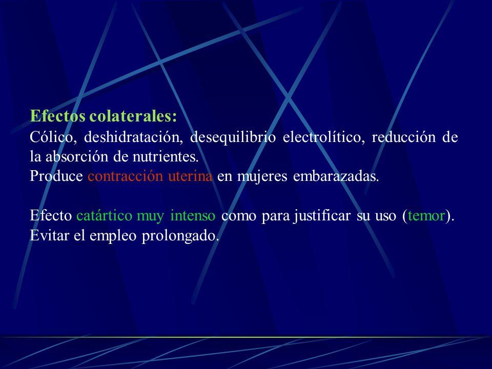 Efectos colaterales: Cólico, deshidratación, desequilibrio electrolítico, reducción de la absorción de nutrientes. Produce contracción uterina en muje