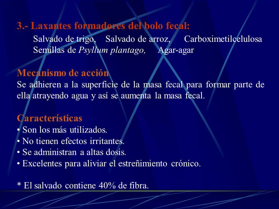 3.- Laxantes formadores del bolo fecal: Salvado de trigo, Salvado de arroz, Carboximetilcelulosa Semillas de Psyllum plantago, Agar-agar Mecanismo de