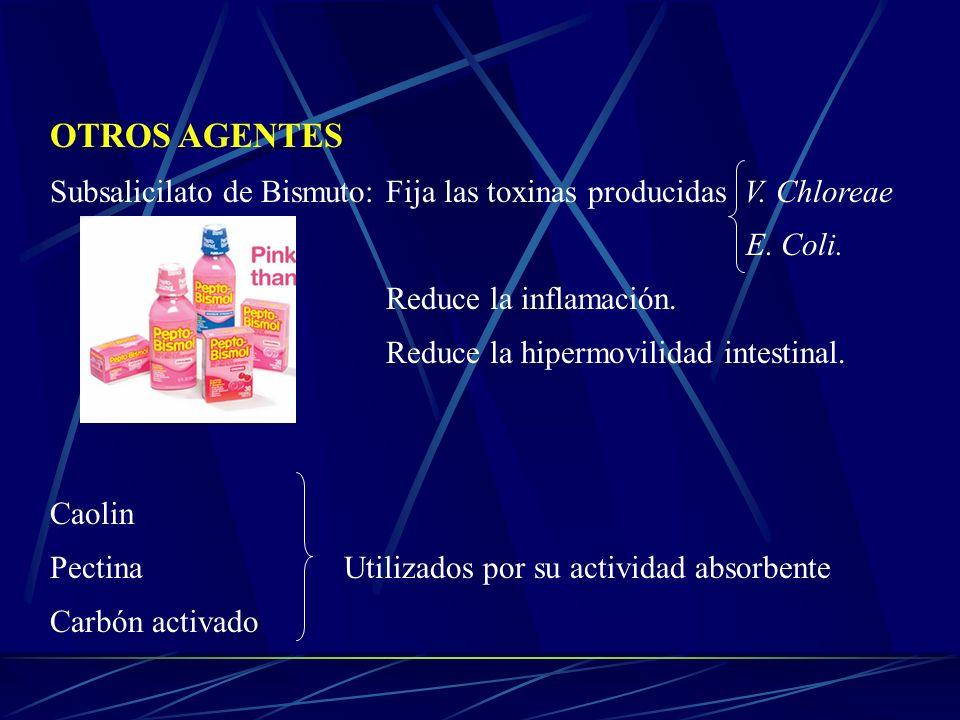 OTROS AGENTES Subsalicilato de Bismuto: Fija las toxinas producidas V. Chloreae E. Coli. Reduce la inflamación. Reduce la hipermovilidad intestinal. C