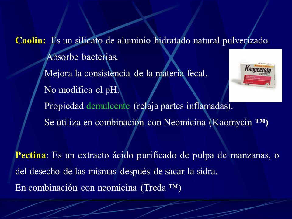 Caolin: Es un silicato de aluminio hidratado natural pulverizado. Absorbe bacterias. Mejora la consistencia de la materia fecal. No modifica el pH. Pr