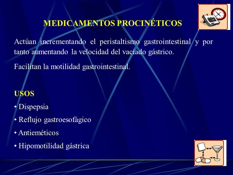 MEDICAMENTOS PROCINÉTICOS Actúan incrementando el peristaltismo gastrointestinal y por tanto aumentando la velocidad del vaciado gástrico. Facilitan l