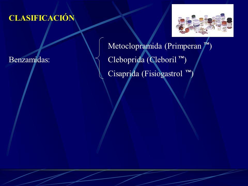 CLASIFICACIÓN Metoclopramida (Primperan ) Benzamidas: Cleboprida (Cleboril ) Cisaprida (Fisiogastrol )
