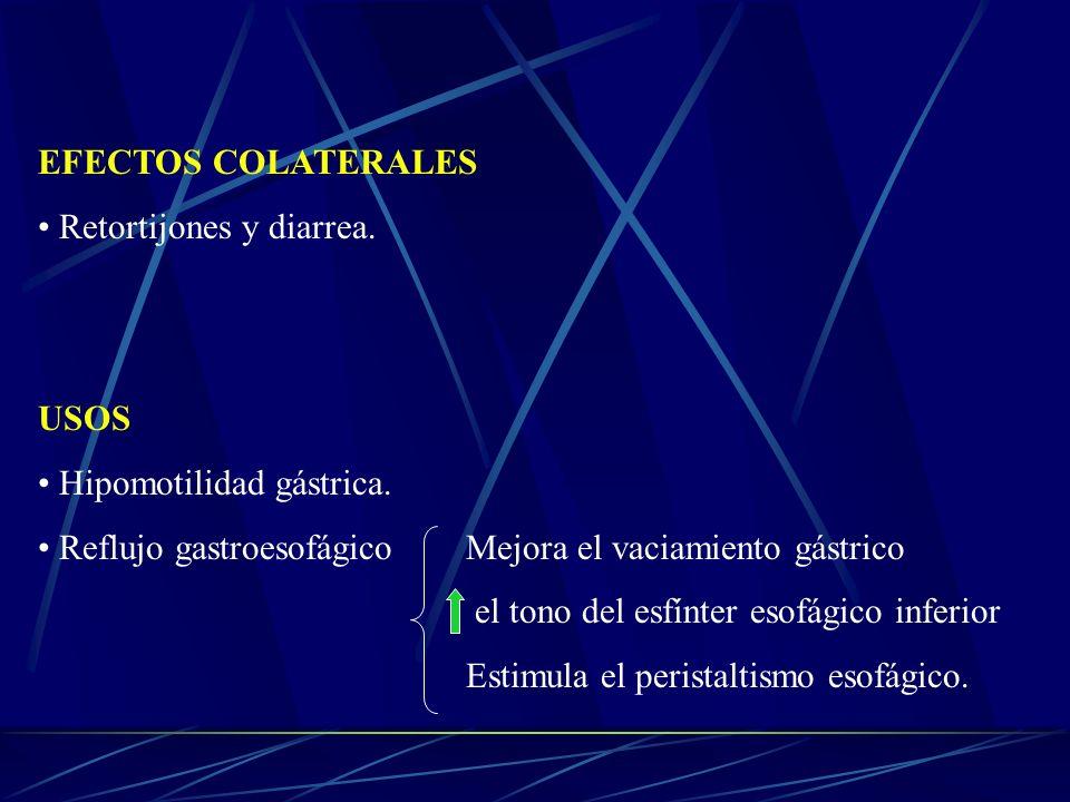 EFECTOS COLATERALES Retortijones y diarrea. USOS Hipomotilidad gástrica. Reflujo gastroesofágicoMejora el vaciamiento gástrico el tono del esfínter es