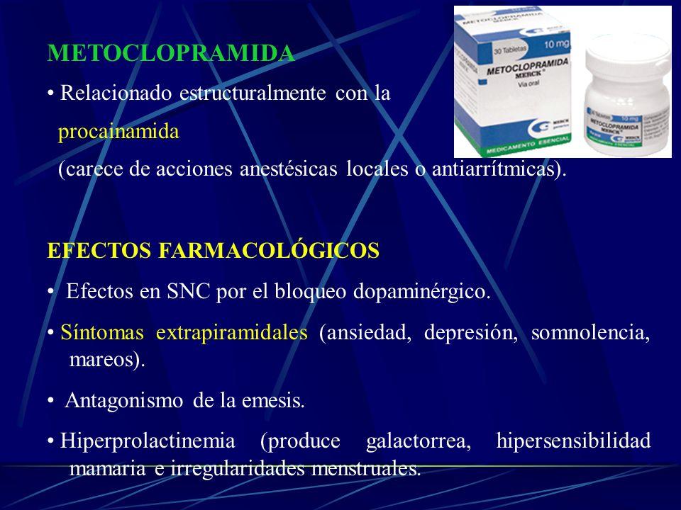 METOCLOPRAMIDA Relacionado estructuralmente con la procainamida (carece de acciones anestésicas locales o antiarrítmicas). EFECTOS FARMACOLÓGICOS Efec