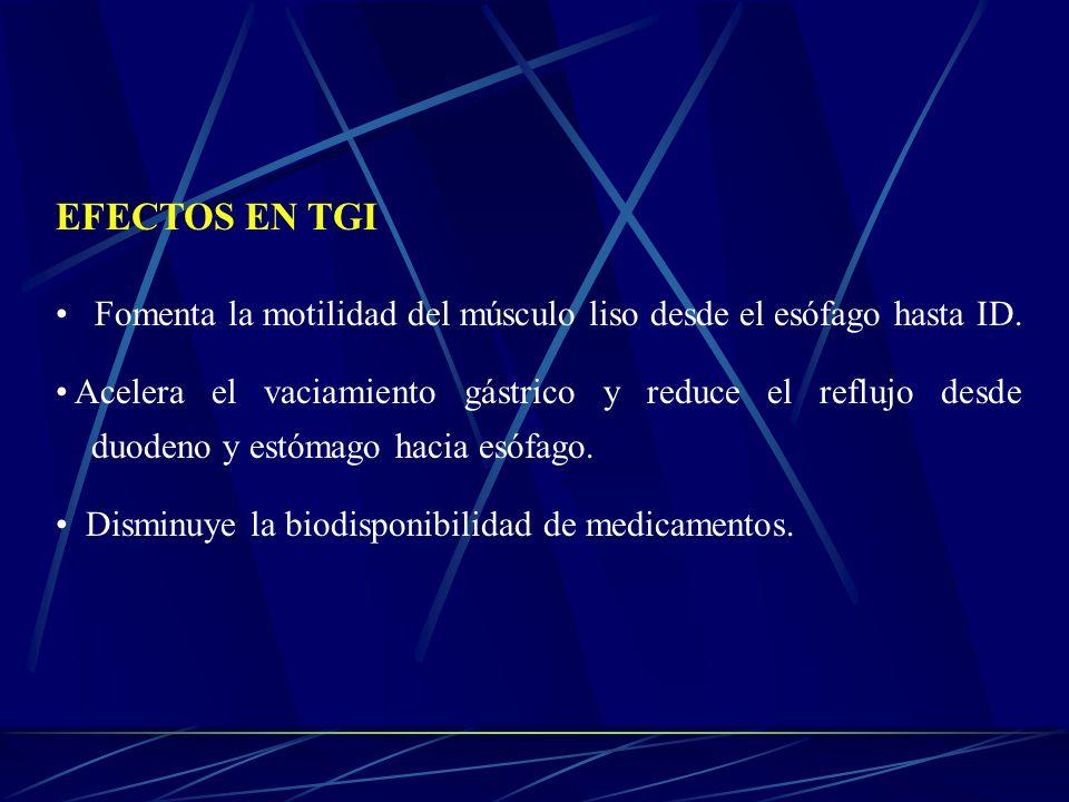 EFECTOS EN TGI Fomenta la motilidad del músculo liso desde el esófago hasta ID. Acelera el vaciamiento gástrico y reduce el reflujo desde duodeno y es