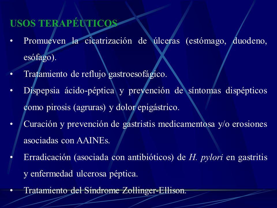 USOS TERAPÉUTICOS Promueven la cicatrización de úlceras (estómago, duodeno, esófago). Tratamiento de reflujo gastroesofágico. Dispepsia ácido-péptica