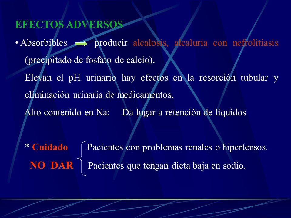 EFECTOS ADVERSOS Absorbibles producir alcalosis, alcaluria con nefrolitiasis (precipitado de fosfato de calcio). Elevan el pH urinario hay efectos en