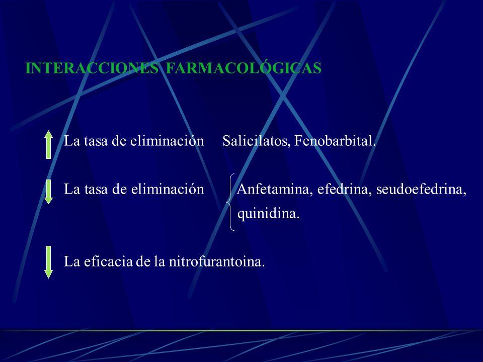 INTERACCIONES FARMACOLÓGICAS La tasa de eliminación Salicilatos, Fenobarbital. La tasa de eliminación Anfetamina, efedrina, seudoefedrina, quinidina.
