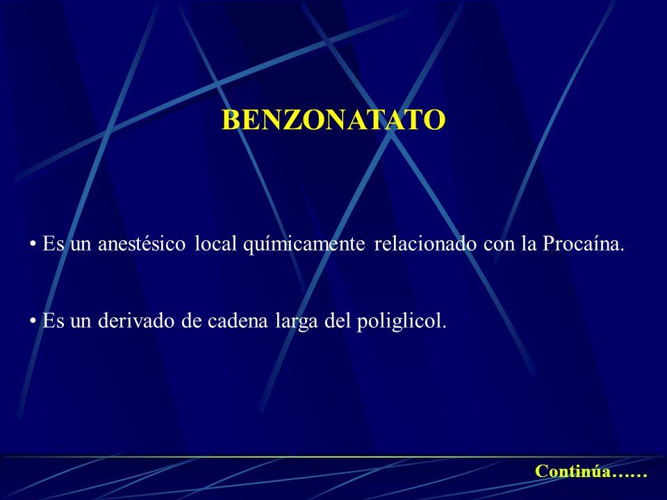 BENZONATATO Es un anestésico local químicamente relacionado con la Procaína. Es un derivado de cadena larga del poliglicol. Continúa……