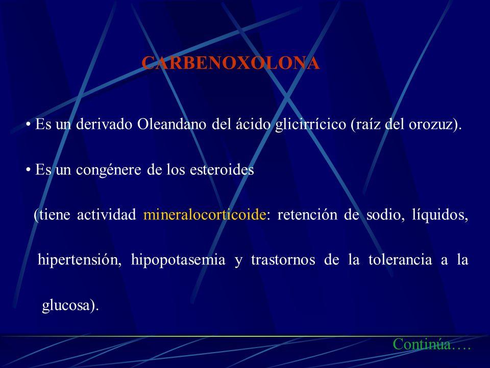 Es un derivado Oleandano del ácido glicirrícico (raíz del orozuz). Es un congénere de los esteroides (tiene actividad mineralocorticoide: retención de