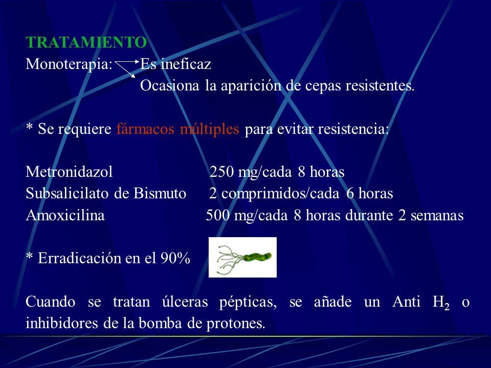 TRATAMIENTO Monoterapia: Es ineficaz Ocasiona la aparición de cepas resistentes. * Se requiere fármacos múltiples para evitar resistencia: Metronidazo