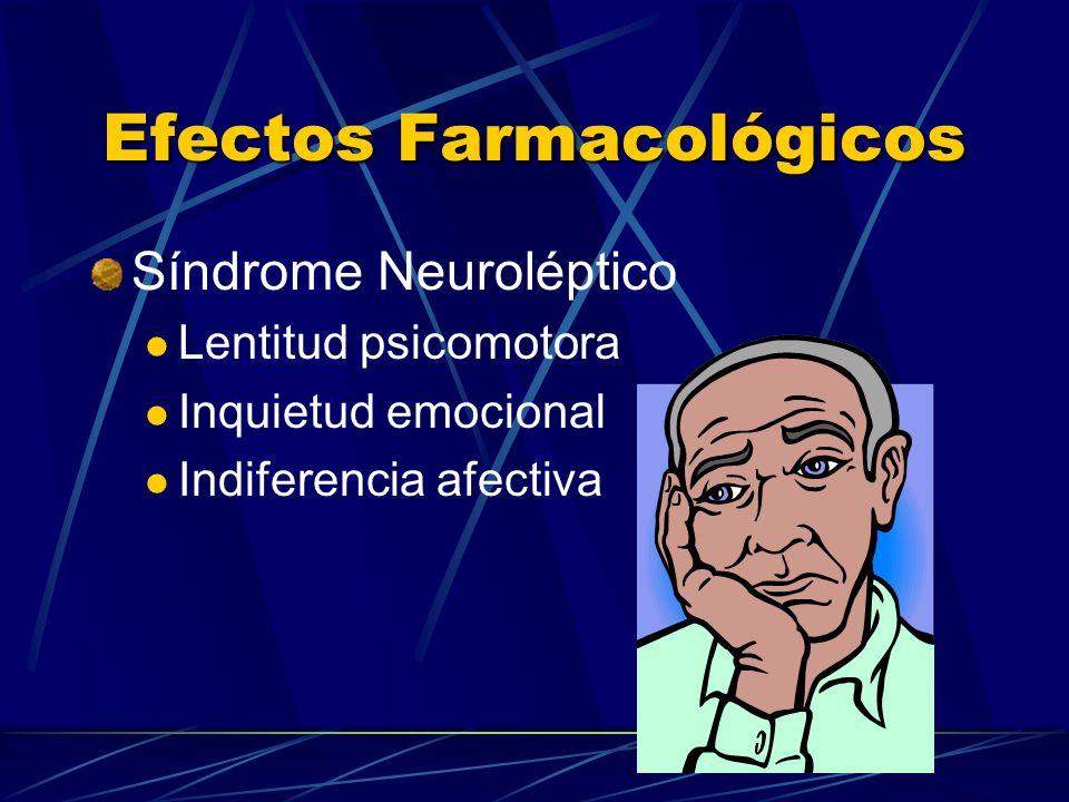 Efectos Farmacológicos Síndrome Neuroléptico Lentitud psicomotora Inquietud emocional Indiferencia afectiva