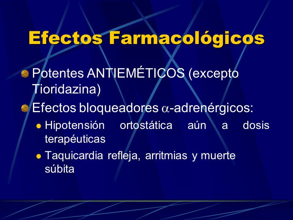 Efectos Farmacológicos Potentes ANTIEMÉTICOS (excepto Tioridazina) Efectos bloqueadores -adrenérgicos: Hipotensión ortostática aún a dosis terapéutica