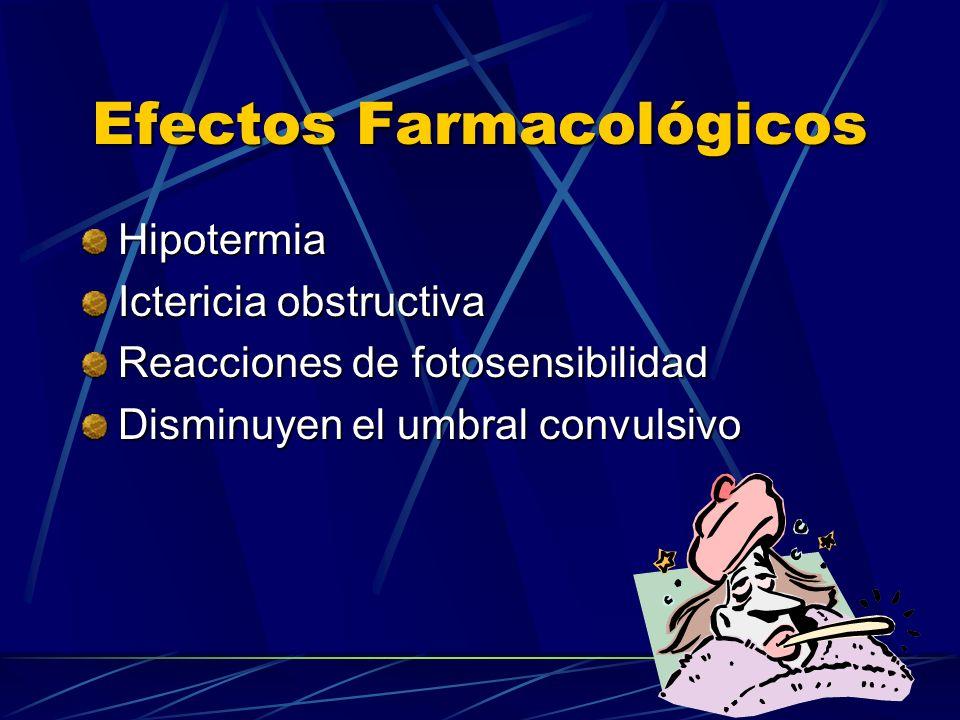 Efectos Farmacológicos Hipotermia Ictericia obstructiva Reacciones de fotosensibilidad Disminuyen el umbral convulsivo
