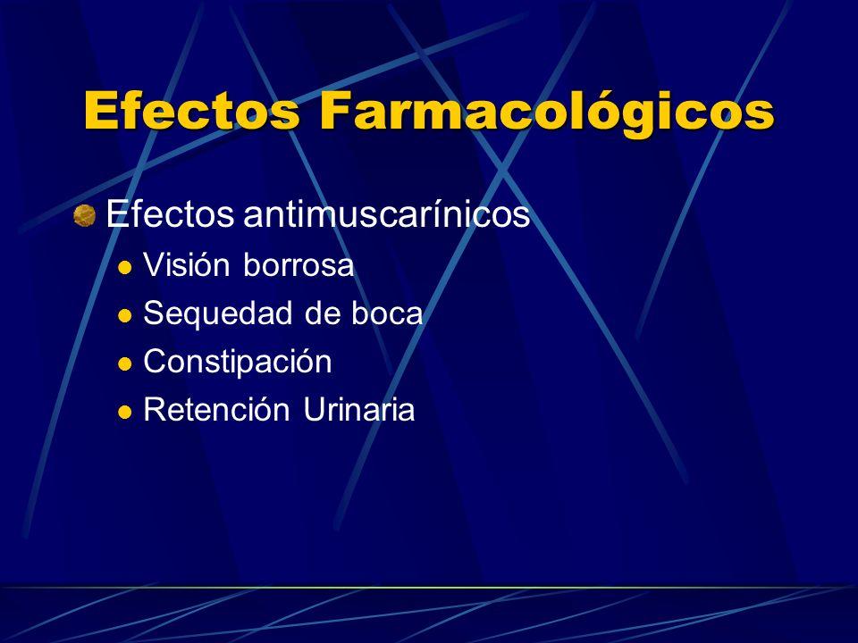 Efectos Farmacológicos Efectos antimuscarínicos Visión borrosa Sequedad de boca Constipación Retención Urinaria