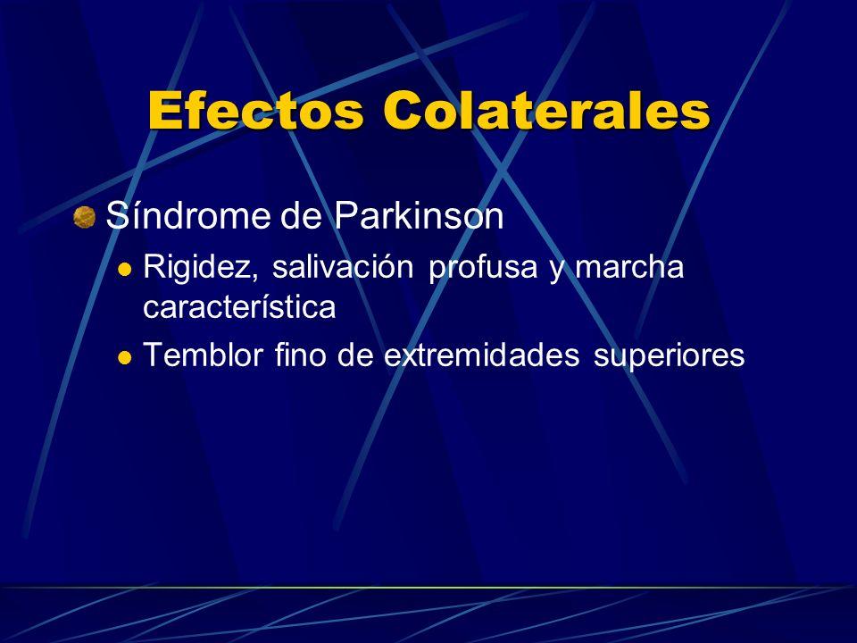 Efectos Colaterales Síndrome de Parkinson Rigidez, salivación profusa y marcha característica Temblor fino de extremidades superiores