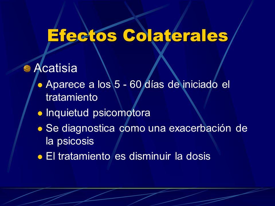Efectos Colaterales Acatisia Aparece a los 5 - 60 días de iniciado el tratamiento Inquietud psicomotora Se diagnostica como una exacerbación de la psi