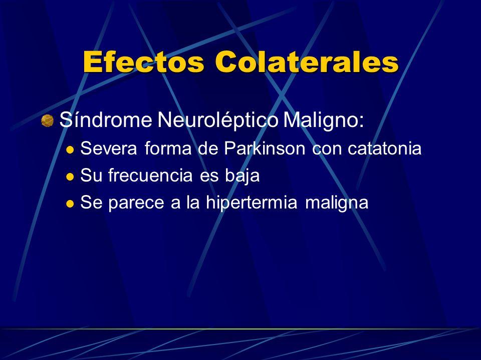 Efectos Colaterales Síndrome Neuroléptico Maligno: Severa forma de Parkinson con catatonia Su frecuencia es baja Se parece a la hipertermia maligna