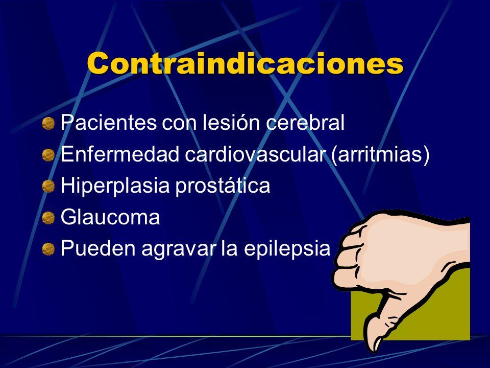 Contraindicaciones Pacientes con lesión cerebral Enfermedad cardiovascular (arritmias) Hiperplasia prostática Glaucoma Pueden agravar la epilepsia