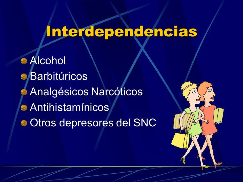 Interdependencias Alcohol Barbitúricos Analgésicos Narcóticos Antihistamínicos Otros depresores del SNC