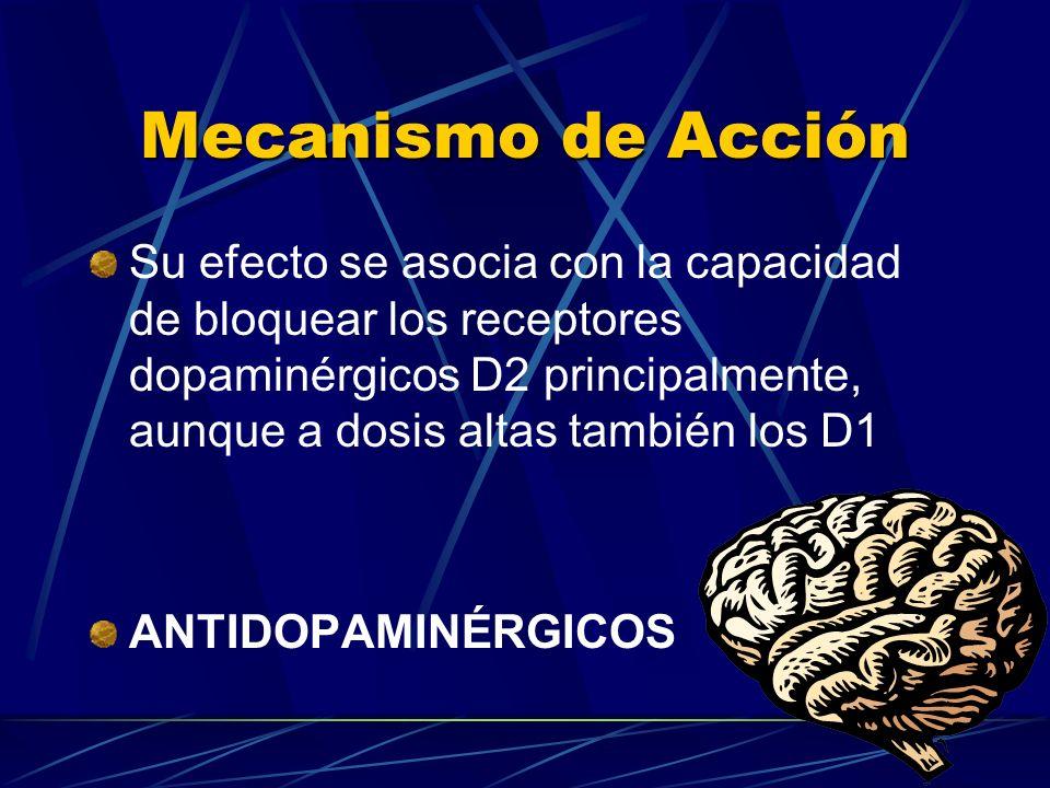 Mecanismo de Acción Su efecto se asocia con la capacidad de bloquear los receptores dopaminérgicos D2 principalmente, aunque a dosis altas también los