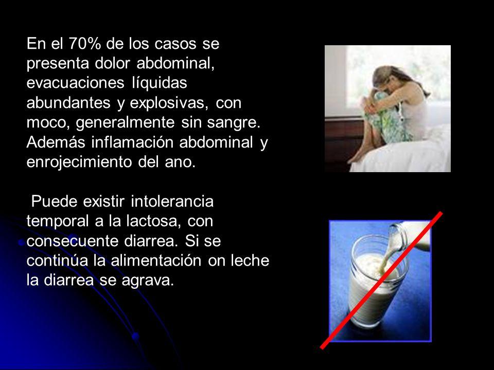 En el 70% de los casos se presenta dolor abdominal, evacuaciones líquidas abundantes y explosivas, con moco, generalmente sin sangre. Además inflamaci