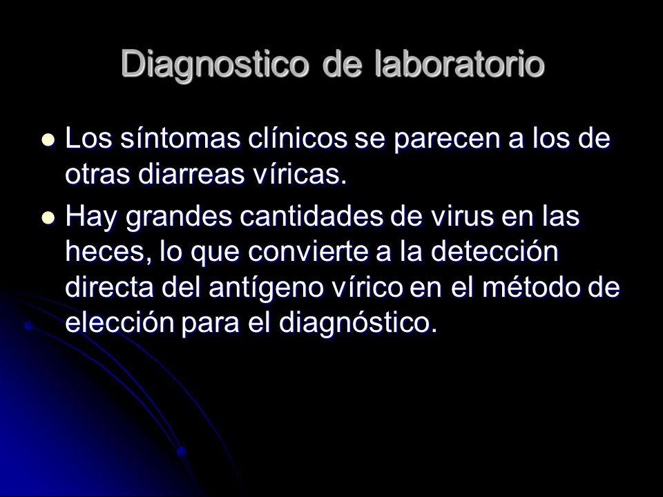 Diagnostico de laboratorio Los síntomas clínicos se parecen a los de otras diarreas víricas. Los síntomas clínicos se parecen a los de otras diarreas