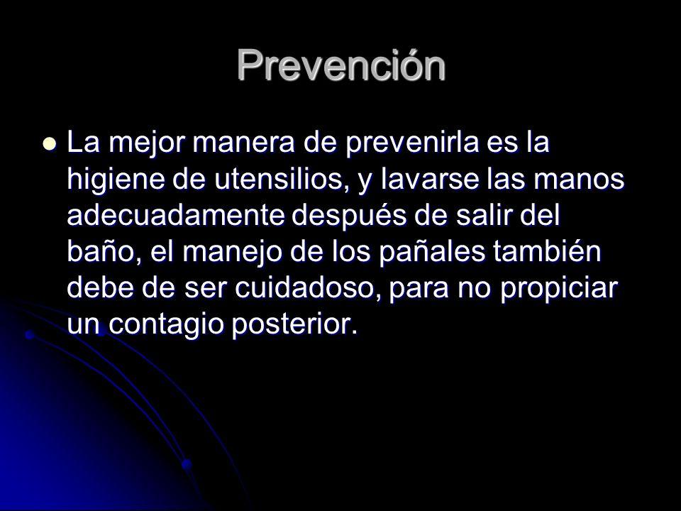 Prevención La mejor manera de prevenirla es la higiene de utensilios, y lavarse las manos adecuadamente después de salir del baño, el manejo de los pa