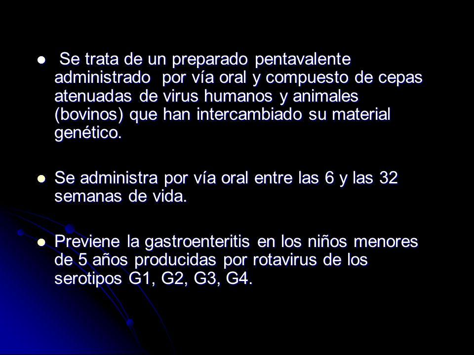 Se trata de un preparado pentavalente administrado por vía oral y compuesto de cepas atenuadas de virus humanos y animales (bovinos) que han intercamb