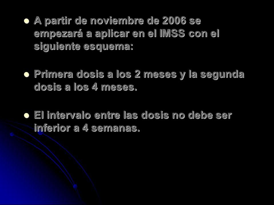 A partir de noviembre de 2006 se empezará a aplicar en el IMSS con el siguiente esquema: A partir de noviembre de 2006 se empezará a aplicar en el IMS