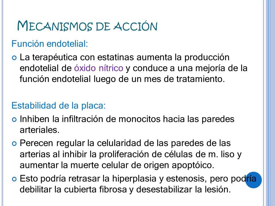 M ECANISMOS DE ACCIÓN Función endotelial: La terapéutica con estatinas aumenta la producción endotelial de óxido nítrico y conduce a una mejoría de la