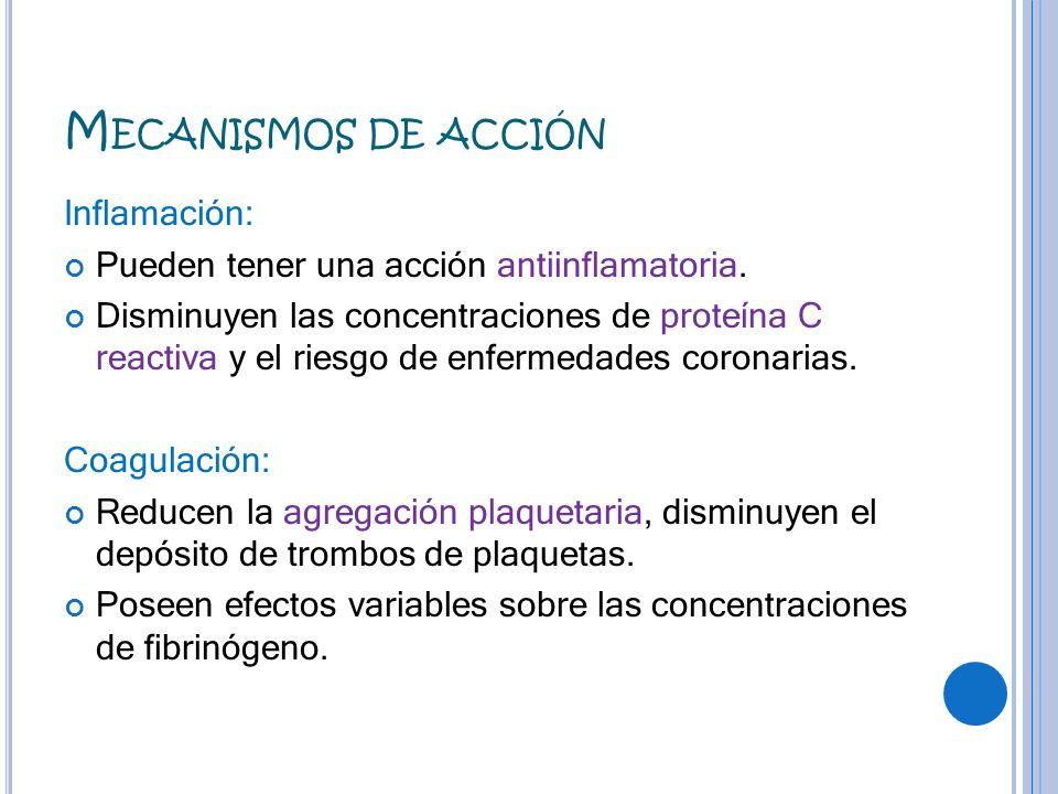 M ECANISMOS DE ACCIÓN Inflamación: Pueden tener una acción antiinflamatoria. Disminuyen las concentraciones de proteína C reactiva y el riesgo de enfe