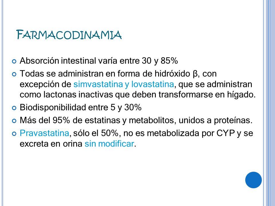 F ARMACODINAMIA Absorción intestinal varía entre 30 y 85% Todas se administran en forma de hidróxido β, con excepción de simvastatina y lovastatina, q