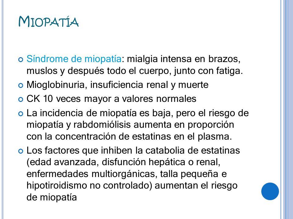M IOPATÍA Síndrome de miopatía: mialgia intensa en brazos, muslos y después todo el cuerpo, junto con fatiga. Mioglobinuria, insuficiencia renal y mue