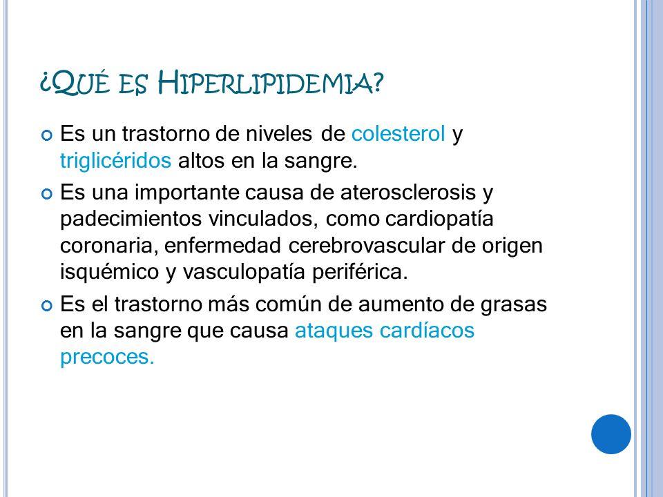 Es un trastorno de niveles de colesterol y triglicéridos altos en la sangre. Es una importante causa de aterosclerosis y padecimientos vinculados, com