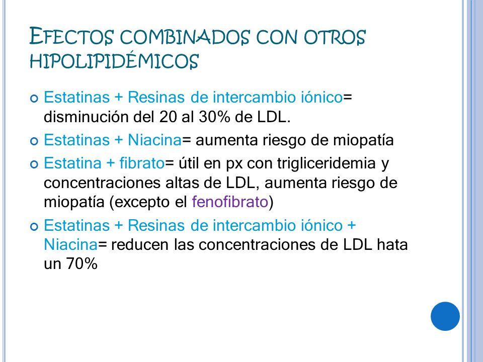 E FECTOS COMBINADOS CON OTROS HIPOLIPIDÉMICOS Estatinas + Resinas de intercambio iónico= disminución del 20 al 30% de LDL. Estatinas + Niacina= aument