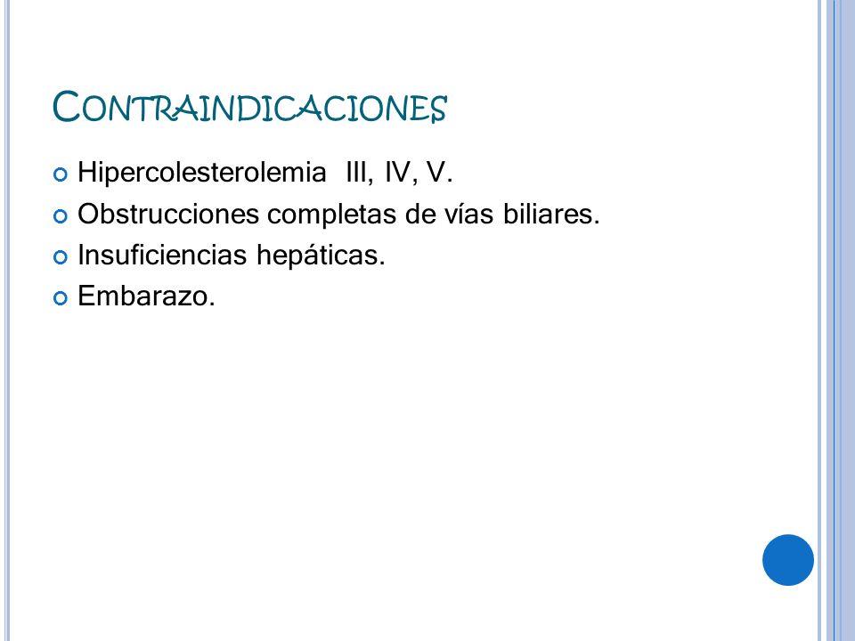 C ONTRAINDICACIONES Hipercolesterolemia III, IV, V. Obstrucciones completas de vías biliares. Insuficiencias hepáticas. Embarazo.