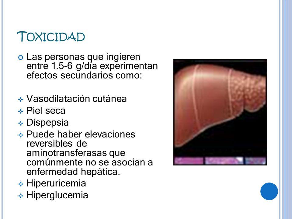 T OXICIDAD Las personas que ingieren entre 1.5-6 g/día experimentan efectos secundarios como: Vasodilatación cutánea Piel seca Dispepsia Puede haber e